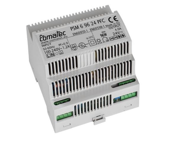 16.  ALIMENTATORE DA GUIDA DIN 24 VDC - 96W CON PFC (POWER FACTOR CORRECTION)